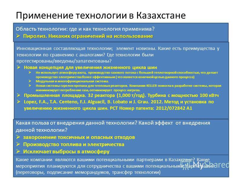 Применение технологии в Казахстане Область технологии: где и как технология применима? Пиролиз. Никаких ограничений на использование Пиролиз. Никаких ограничений на использование Инновационная составляющая технологии; элемент новизны. Какие есть преи
