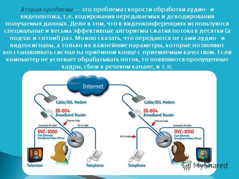 Вторая проблема это проблема скорости обработки аудио- и видеопотока, т.е. кодирования передаваемых и декодирования получаемых данных. Дело в том, что в видеоконференциях используются специальные и весьма эффективные алгоритмы сжатия потока в десятки