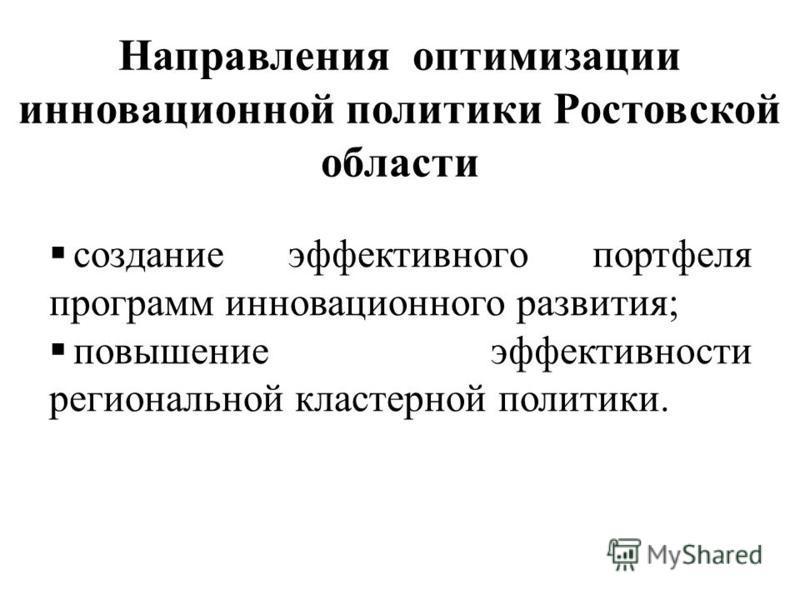 Направления оптимизации инновационноййй политики Ростовской области создание эффективного портфеля программ инновационноййго развития; повышение эффективности региональной кластерной политики.