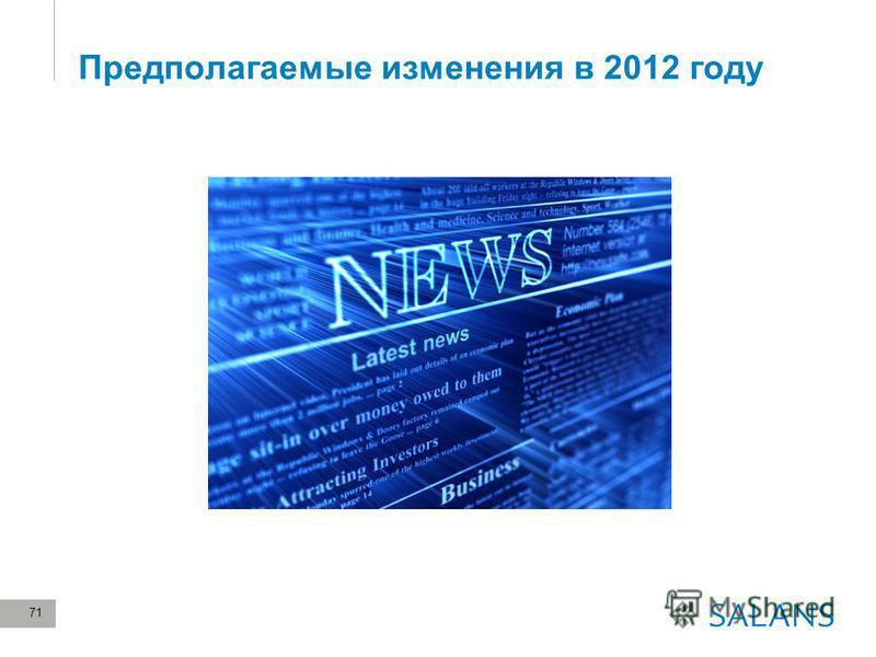 71 Предполагаемые изменения в 2012 году
