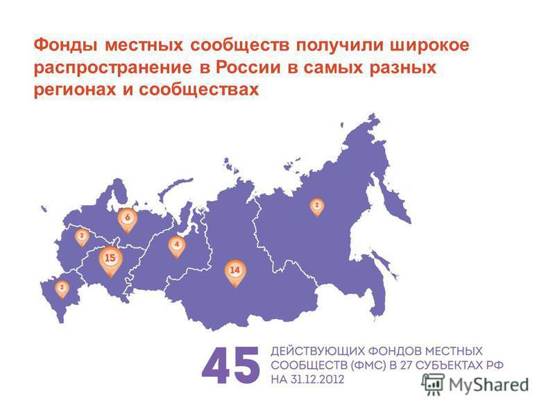 Фонды местных сообществ получили широкое распространение в России в самых разных регионах и сообществах