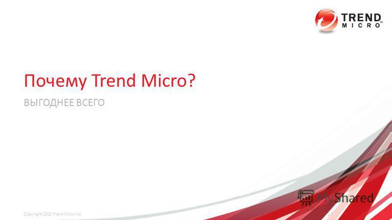Почему Trend Micro? ВЫГОДНЕЕ ВСЕГО 17 Copyright 2013 Trend Micro Inc.