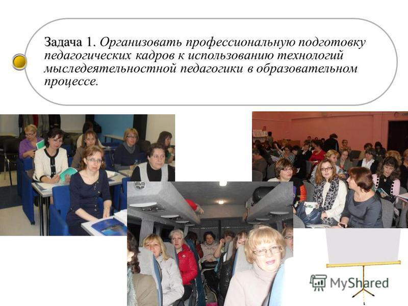 Задача 1. Задача 1. Организовать профессиональную подготовку педагогических кадров к использованию технологий мыследеятельностной педагогики в образовательном процессе.