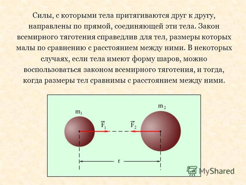 Силы, с которыми тела притягиваются друг к другу, направлены по прямой, соединяющей эти тела. Закон всемирного тяготения справедлив для тел, размеры которых малы по сравнению с расстоянием между ними. В некоторых случаях, если тела имеют форму шаров,
