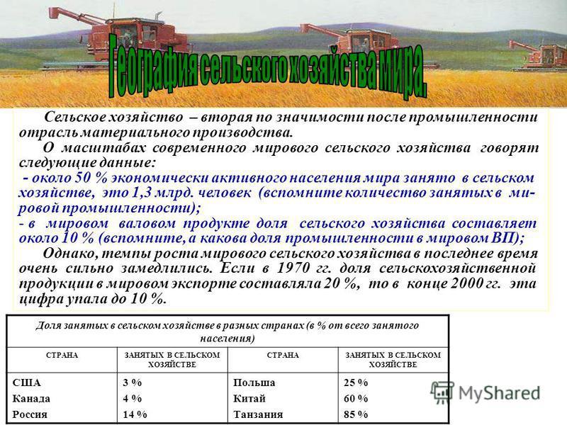 Сельское хозяйство – вторая по значимости после промышленности отрасль материального производства. О масштабах современного мирового сельского хозяйства говорят следующие данные: - около 50 % экономически активного населения мира занято в сельском хо