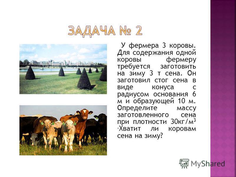 У фермера 3 коровы. Для содержания одной коровы фермеру требуется заготовить на зиму 3 т сена. Он заготовил стог сена в виде конуса с радиусом основания 6 м и образующей 10 м. Определите массу заготовленного сена при плотности 30 кг/м 3. Хватит ли ко
