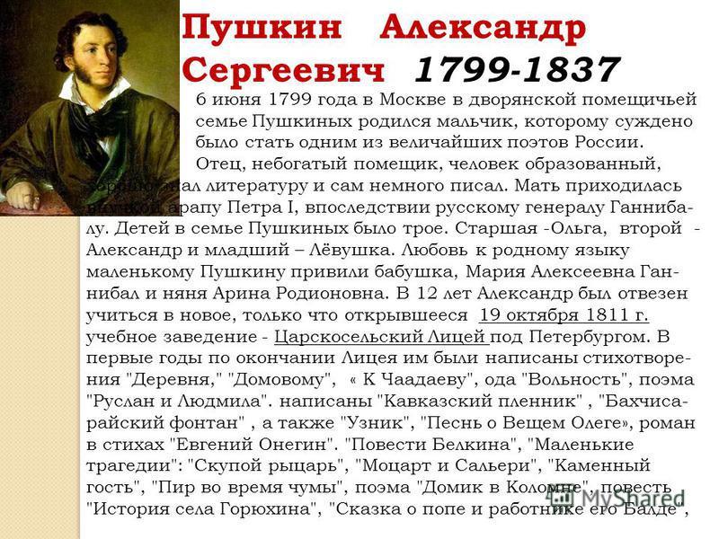Пушкин Александр Сергеевич 1799-1837 6 июня 1799 года в Москве в дворянской помещичьей семье Пушкиных родился мальчик, которому суждено было стать одним из величайших поэтов России. Отец, небогатый помещик, человек образованный, хорошо знал литератур