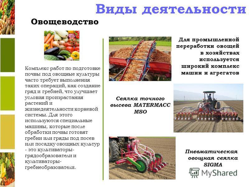 Виды деятельности Овощеводство Для промышленной переработки овощей в хозяйствах используется широкий комплекс машин и агрегатов Пневматическая овощная сеялка SIGMA Сеялка точного высева MATERMACC MSO Комплекс работ по подготовке почвы под овощные кул