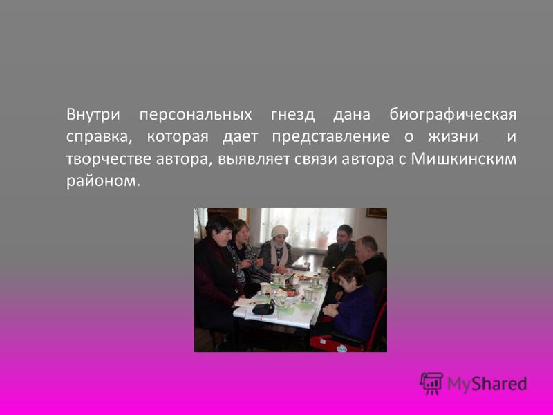 Внутри персональных гнезд дана биографическая справка, которая дает представление о жизни и творчестве автора, выявляет связи автора с Мишкинским районом.