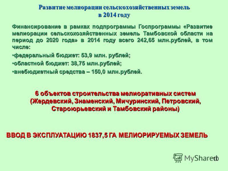 Развитие мелиорации сельскохозяйственных земель в 2014 году Финансирование в рамках подпрограммы Госпрограммы «Развитие мелиорации сельскохозяйственных земель Тамбовской области на период до 2020 года» в 2014 году всего 242,65 млн.рублей, в том числе
