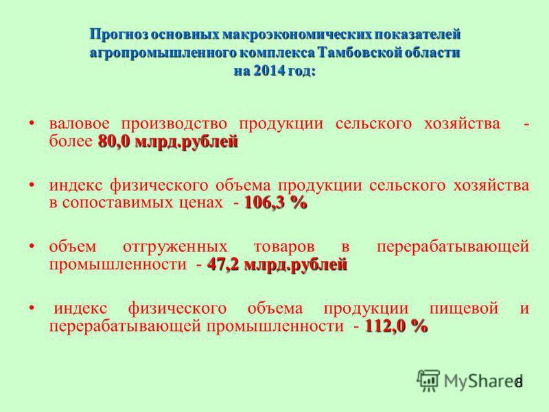 Прогноз основных макроэкономических показателей агропромышленного комплекса Тамбовской области на 2014 год: 80,0 млрд.рублей валовое производство продукции сельского хозяйства - более 80,0 млрд.рублей 106,3 %индекс физического объема продукции сельск