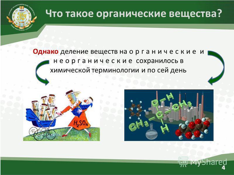 Однако деление веществ на органические и неорганические сохранилось в химической терминологии и по сей день Что такое органические вещества? 4