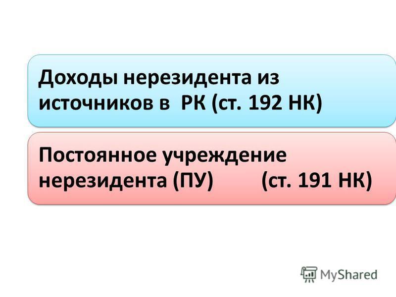 Доходы нерезидента из источников в РК (ст. 192 НК) Постоянное учреждение нерезидента (ПУ) (ст. 191 НК)