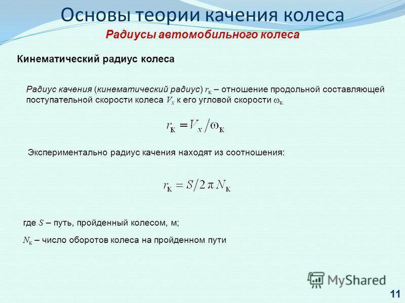 Основы теории качения колеса Радиусы автомобильного колеса Кинематический радиус колеса Радиус качения (кинематический радиус) r к – отношение продольной составляющей поступательной скорости колеса V х к его угловой скорости к. где S – путь, пройденн