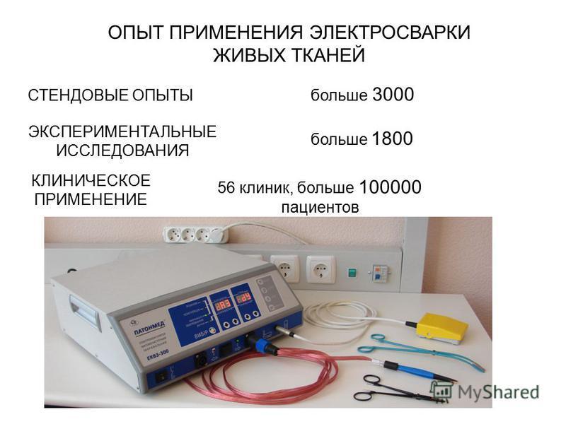 СТЕНДОВЫЕ ОПЫТЫбольше 3000 ЭКСПЕРИМЕНТАЛЬНЫЕ ИССЛЕДОВАНИЯ КЛИНИЧЕСКОЕ ПРИМЕНЕНИЕ больше 1800 ОПЫТ ПРИМЕНЕНИЯ ЭЛЕКТРОСВАРКИ ЖИВЫХ ТКАНЕЙ 56 клиник, больше 100000 пациентов