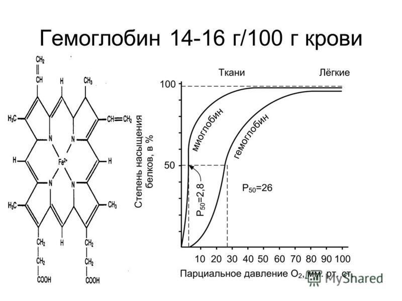 Гемоглобин 14-16 г/100 г крови