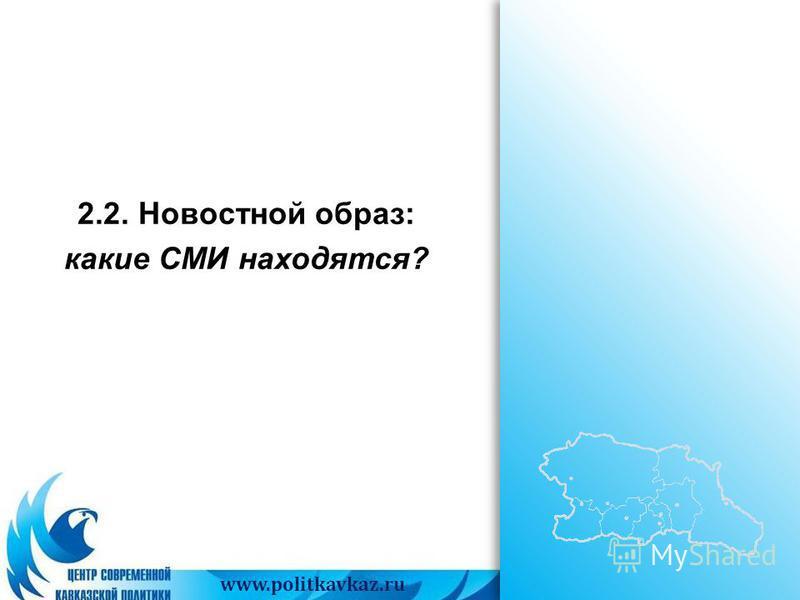 www.politkavkaz.ru 2.2. Новостной образ: какие СМИ находятся?