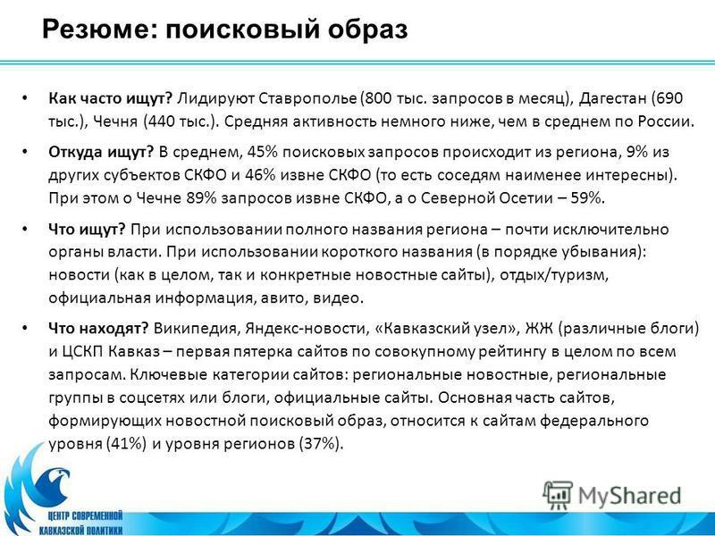 Резюме: поисковый образ Как часто ищут? Лидируют Ставрополье (800 тыс. запросов в месяц), Дагестан (690 тыс.), Чечня (440 тыс.). Средняя активность немного ниже, чем в среднем по России. Откуда ищут? В среднем, 45% поисковых запросов происходит из ре