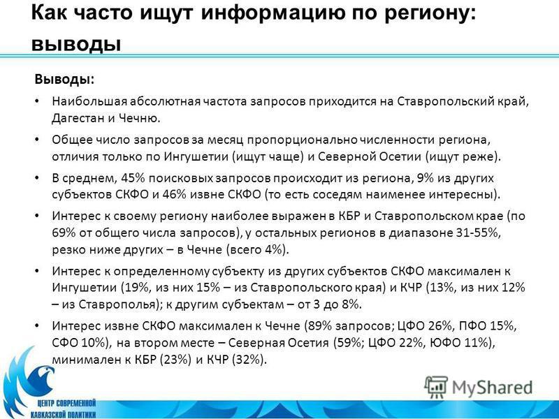 Как часто ищут информацию по региону: выводы Выводы: Наибольшая абсолютная частота запросов приходится на Ставропольский край, Дагестан и Чечню. Общее число запросов за месяц пропорционально численности региона, отличия только по Ингушетии (ищут чаще