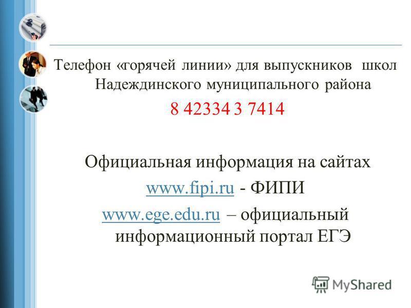 Телефон «горячей линии» для выпускников школ Надеждинского муниципального района 8 42334 3 7414 Официальная информация на сайтах www.fipi.ruwww.fipi.ru - ФИПИ www.ege.edu.ruwww.ege.edu.ru – официальный информационный портал ЕГЭ