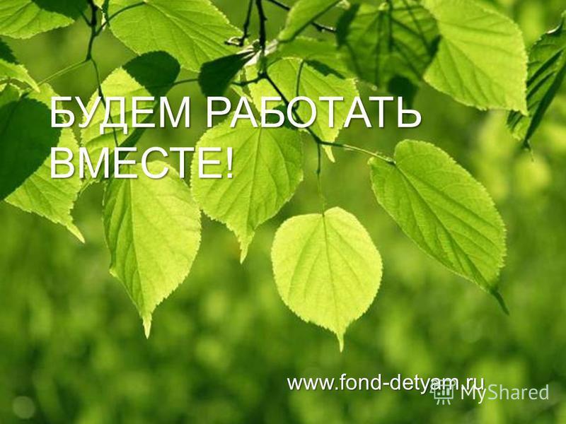 БУДЕМ РАБОТАТЬ ВМЕСТЕ! www.fond-detyam.ru