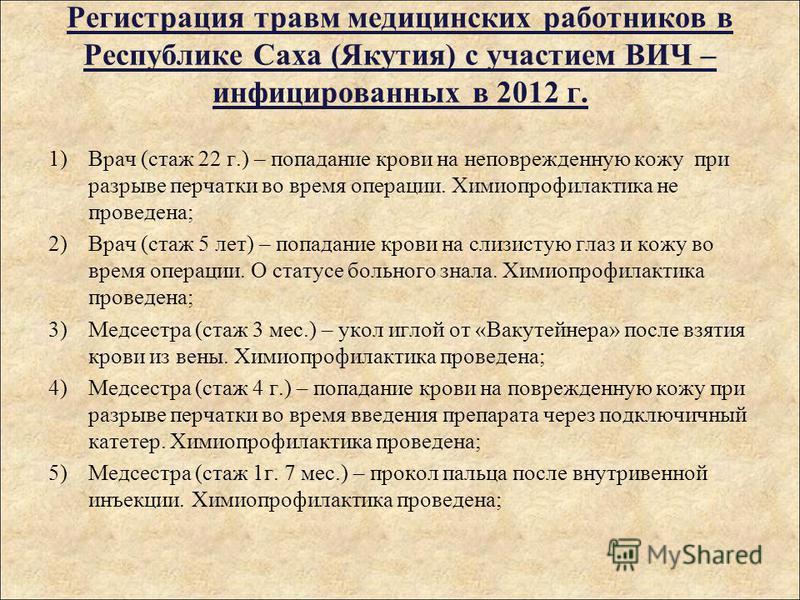 Регистрация травм медицинских работников в Республике Саха (Якутия) с участием ВИЧ – инфицированных в 2012 г. 1)Врач (стаж 22 г.) – попадание крови на неповрежденную кожу при разрыве перчатки во время операции. Химиопрофилактика не проведена; 2)Врач
