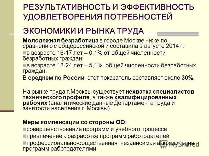 РЕЗУЛЬТАТИВНОСТЬ И ЭФФЕКТИВНОСТЬ УДОВЛЕТВОРЕНИЯ ПОТРЕБНОСТЕЙ ЭКОНОМИКИ И РЫНКА ТРУДА Молодежная безработица в городе Москве ниже по сравнению с общероссийской и составила в августе 2014 г.: в возрасте 16-17 лет – 0,1% от общей численности безработных