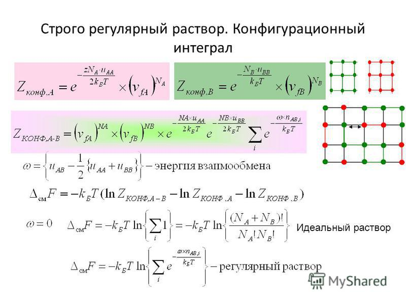 Строго регулярный раствор. Конфигурационный интеграл Идеальный раствор