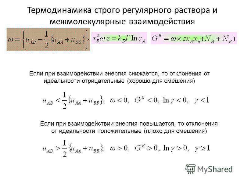 Термодинамика строго регулярного раствора и межмолекулярные фзаимодействия Если при фзаимодействии энергия снижается, то отклонения от идеальности отрицательные (хорошо для смешения) Если при фзаимодействии энергия повышается, то отклонения от идеаль