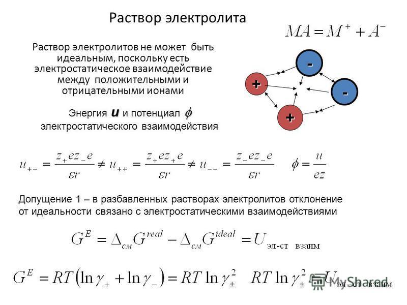 Раствор электролита Раствор электролитов не может быть идеальным, поскольку есть электростатическое фзаимодействие между положительными и отрицательными ионами Допущение 1 – в разбавленных растворах электролитов отклонение от идеальности связано с эл