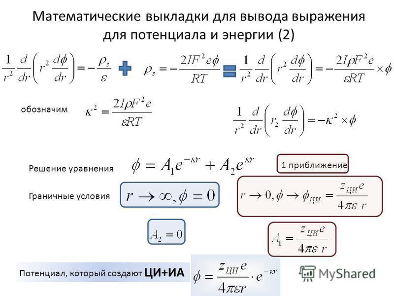 Математические выкладки для вывода выражения для потенциала и энергии (2) обозначим Решение уравнения Граничные условия Потенциал, который создают ЦИ+ИА 1 приближение