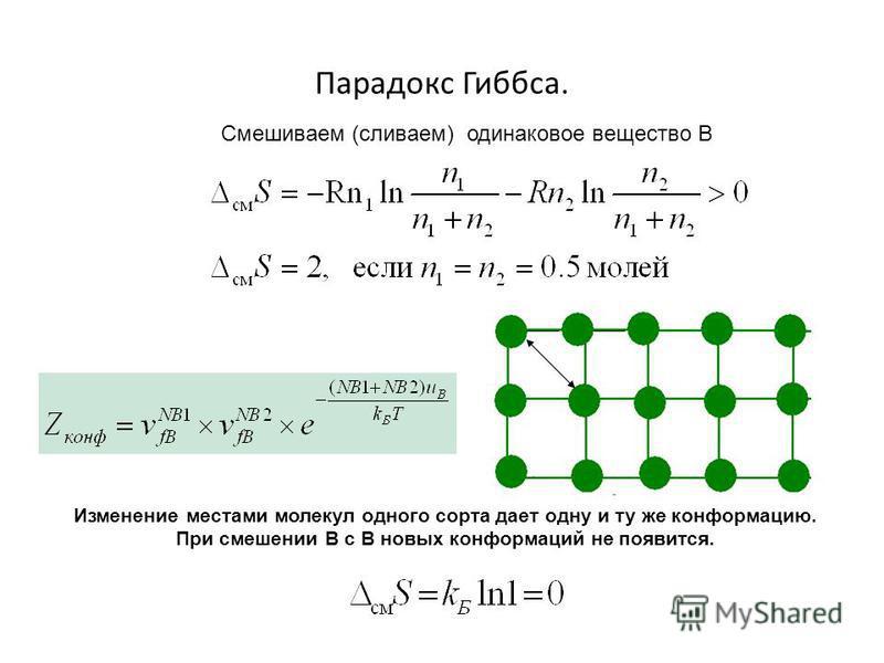 Парадокс Гиббса. Смешиваем (сливаем) одинаковое вещество В Изменение местами молекул одного сорта дает одну и ту же конформацию. При смешении В с В новых конформаций не появится.