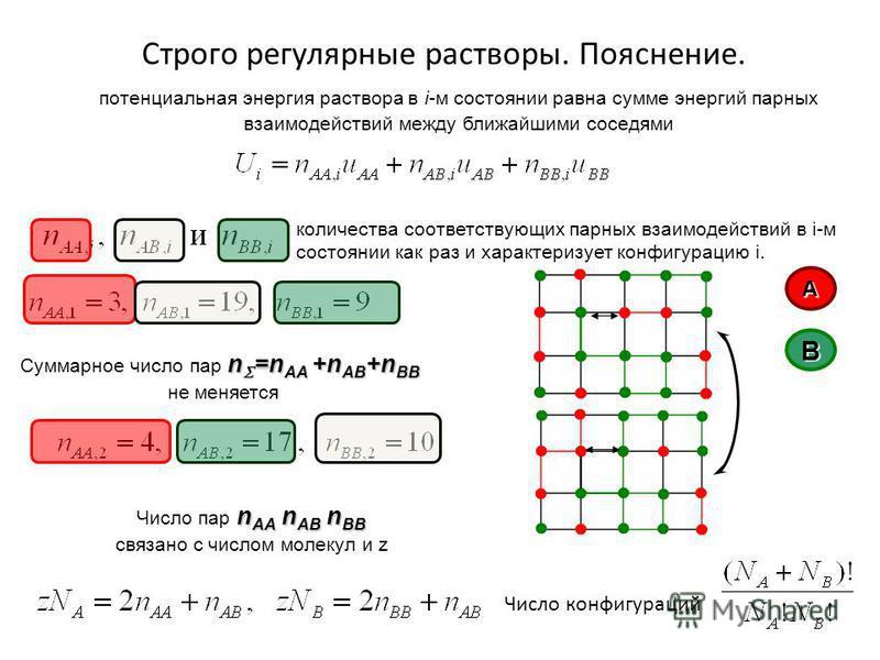 потенциальная энергия раствора в i-м состоянии равна сумме энергий парных фзаимодействий между ближайшими соседями количества соответствующих парных фзаимодействий в i-м состоянии как раз и характеризует конфигурацию i. Строго регулярные растворы. По