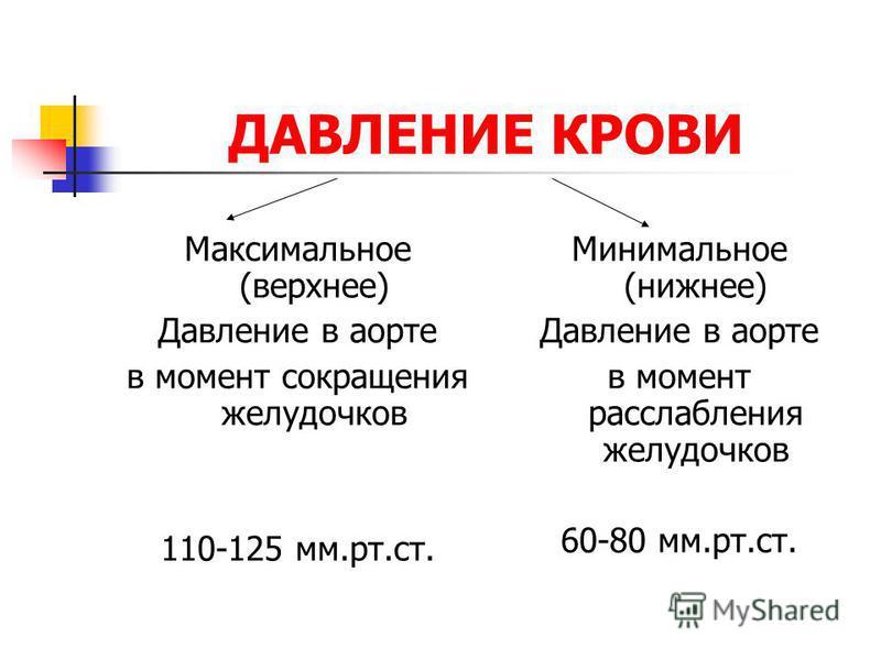 ДАВЛЕНИЕ КРОВИ Максимальное (верхнее) Давление в аорте в момент сокращения желудочков 110-125 мм.рт.ст. Минимальное (нижнее) Давление в аорте в момент расслабления желудочков 60-80 мм.рт.ст.