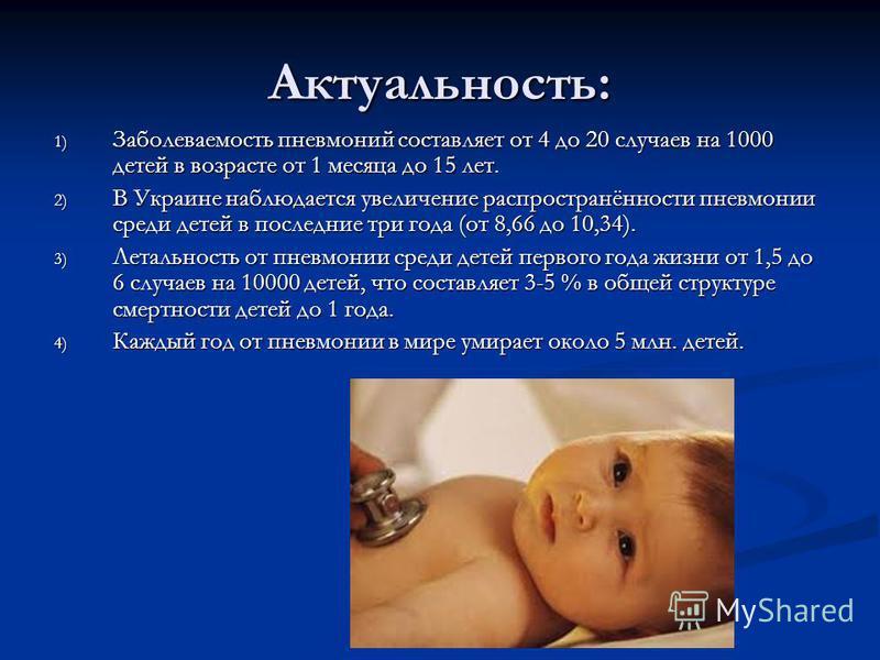 Актуальность: 1) Заболеваемость пневмоний составляет от 4 до 20 случаев на 1000 детей в возрасте от 1 месяца до 15 лет. 2) В Украине наблюдается увеличение распространённости пневмонии среди детей в последние три года (от 8,66 до 10,34). 3) Летальнос