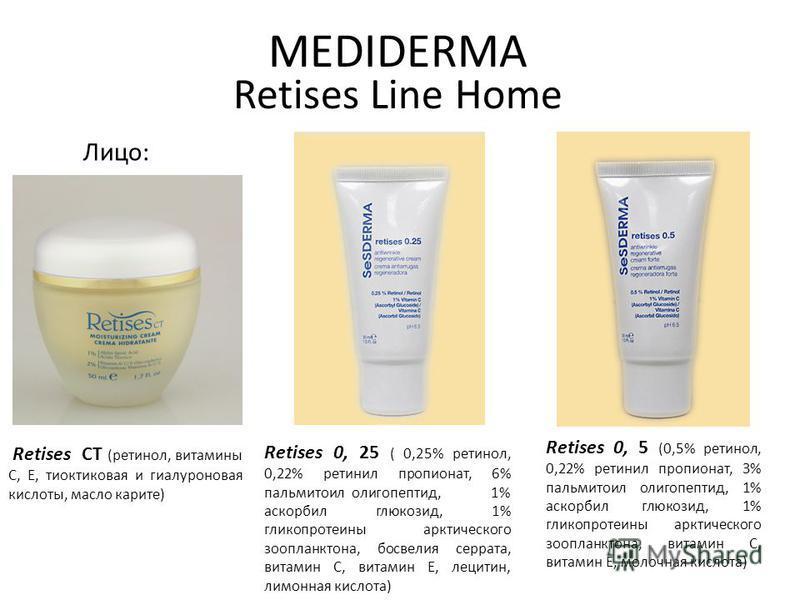 MEDIDERMA Retises Line Home Лицо: Retises СТ (ретинол, витамины С, Е, тиоктиковая и гиалуроновая кислоты, масло каритэ) Retises 0, 5 (0,5% ретинол, 0,22% ретинол пропионат, 3% пальмитоил олигопептид, 1% оскорбил глюкозид, 1% гликопротеины арктическог