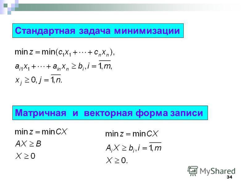 34 Стандартная задача минимизации Матричная и векторная форма записи