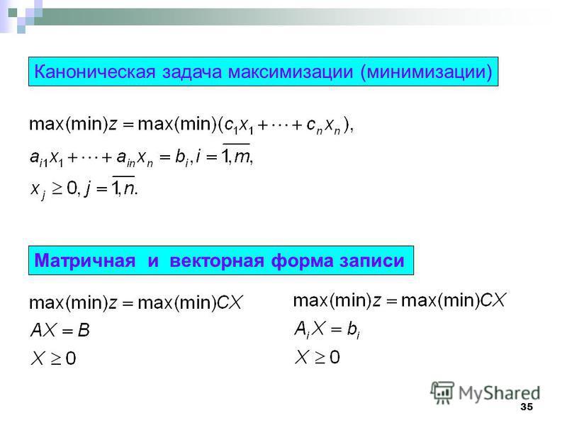 35 Каноническая задача максимизации (минимизации) Матричная и векторная форма записи