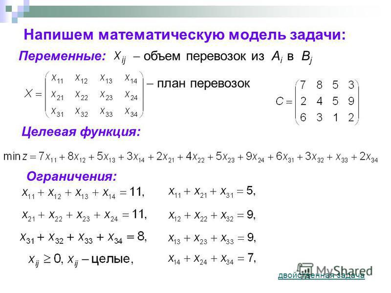 Напишем математическую модель задачи: объем перевозок из A i в B j Переменные: Целевая функция: Ограничения: план перевозок двойственная задача