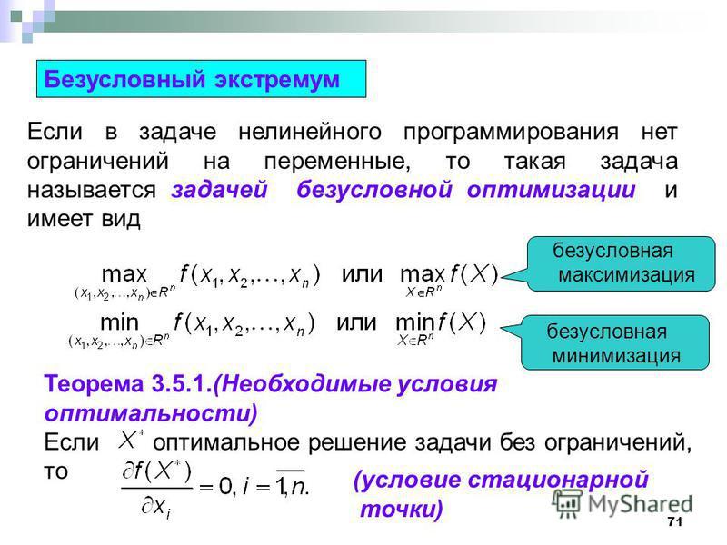 71 Безусловный экстремум Если в задаче нелинейного программирования нет ограничений на переменные, то такая задача называется задачей безусловной оптимизации и имеет вид безусловная максимизация безусловная минимизация Теорема 3.5.1.(Необходимые усло