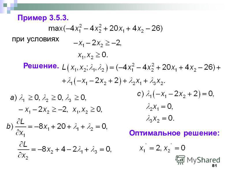 81 Пример 3.5.3. при условиях Решение. Оптимальное решение: