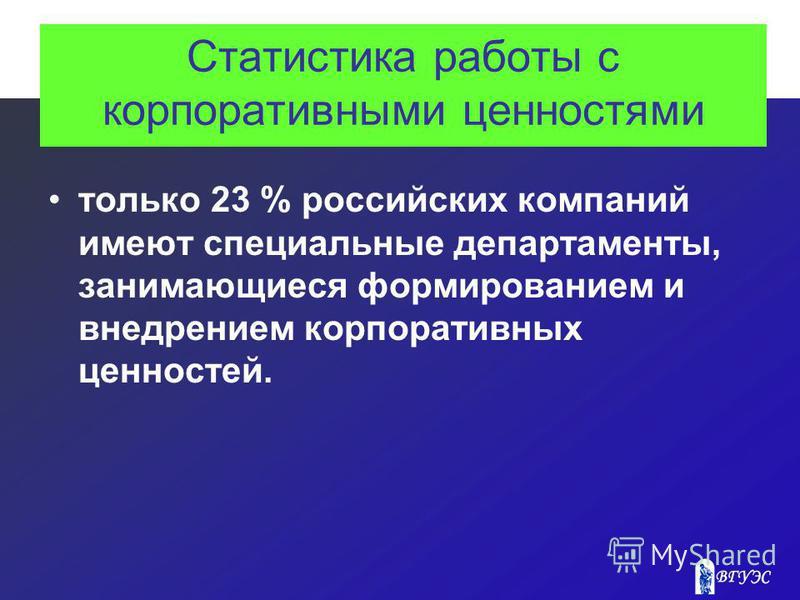 Статистика работы с корпоративными ценностями только 23 % российских компаний имеют специальные департаменты, занимающиеся формированием и внедрением корпоративных ценностей.
