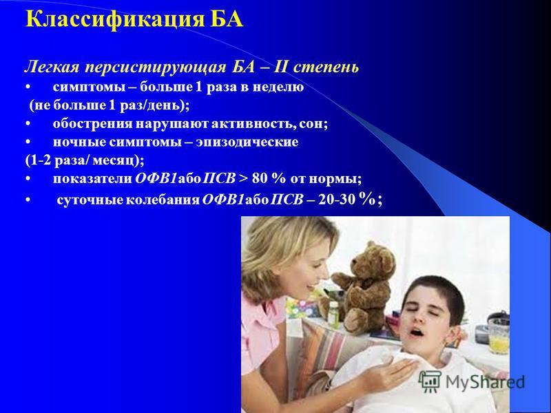 Классификация БА Легкая персистируючая БА – ІІ степениь симптомы – больше 1 раза в неделю (не больше 1 раз/день); обострения нарушают активнооость, сон; ночные симптомы – эпизодические (1-2 раза/ месяц); показатели ОФВ1 обо ПСВ > 80 % от нормы; суточ