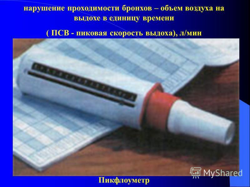Пикфлоуметр нарушение проходимости бронхов – объем воздуха на выдохе в единицу времени ( ПСВ - пиковая скорость выдоха), л/мин