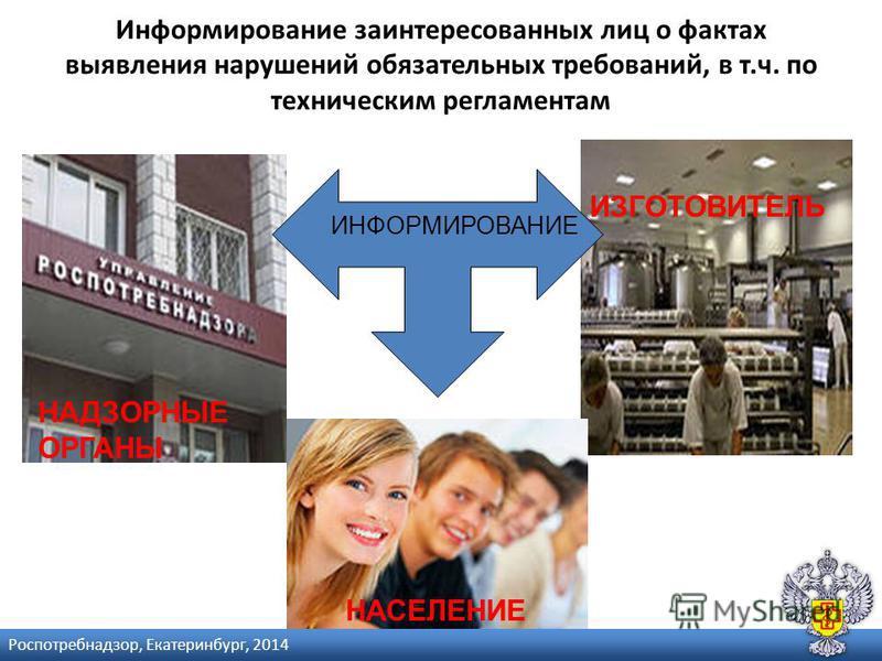 Информирование заинтересованных лиц о фактах выявления нарушений обязательных требований, в т.ч. по техническим регламентам ИНФОРМИРОВАНИЕ ИЗГОТОВИТЕЛЬ НАДЗОРНЫЕ ОРГАНЫ НАСЕЛЕНИЕ Роспотребнадзор, Екатеринбург, 2014