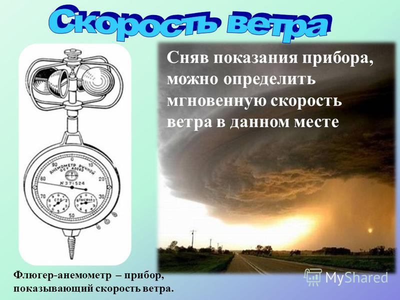 Скорость (км/час или м/с, баллы, узлы) Сила (кг/м 2 ) Направление (румб) расстояние, пройдённое воздушным потоком за единицу времени давление, оказываемое движущимся воздухом на подстилающую поверхность Движение воздуха с определённой точки горизонта