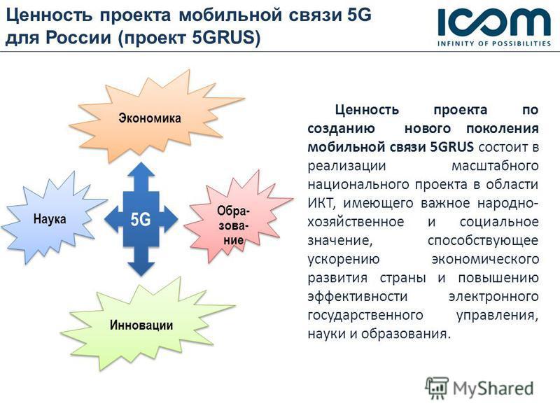 Ценюность проекта мобильной связи 5G для России (проект 5GRUS) Ценюность проекта по созданию нового поколения мобильной связи 5GRUS состоит в реализации масштабного национального проекта в области ИКТ, имеющего важное народно- хозяйственное и социаль