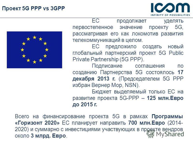 Проект 5G PPP vs 3GPP ЕС продолжает уделять первостепенное значение проекту 5G, рассматривая его как локомотив развития телекоммуникаций в целом. ЕС предложило создать новый глобальный партнерский проект 5G Public Private Partnership (5G PPP). Подпис
