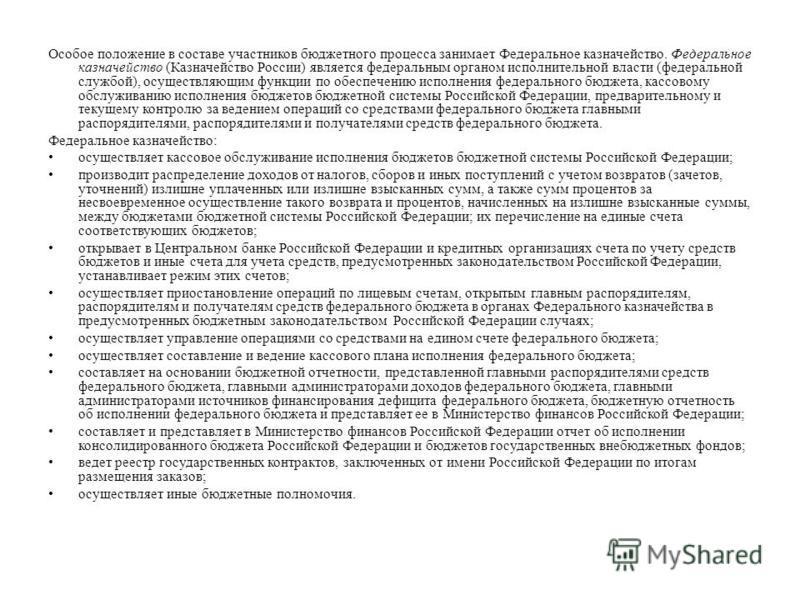 Особое положение в составе участников бюджетного процесса занимает Федеральное казначейство. Федеральное казначейство (Казначейство России) является федеральным органом исполнительной власти (федеральной службой), осуществляющим функции по обеспечени