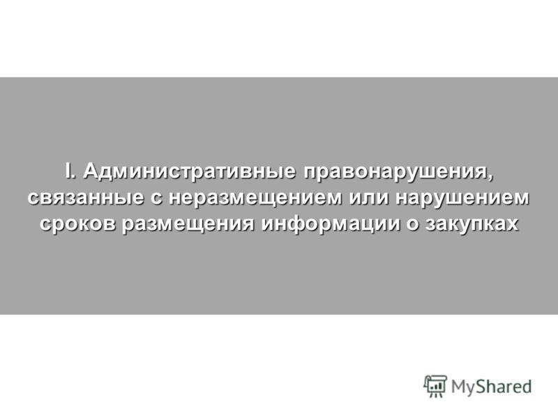 I. Административные правонарушения, связанные с неразмещением или нарушением сроков размещения информации о закупках